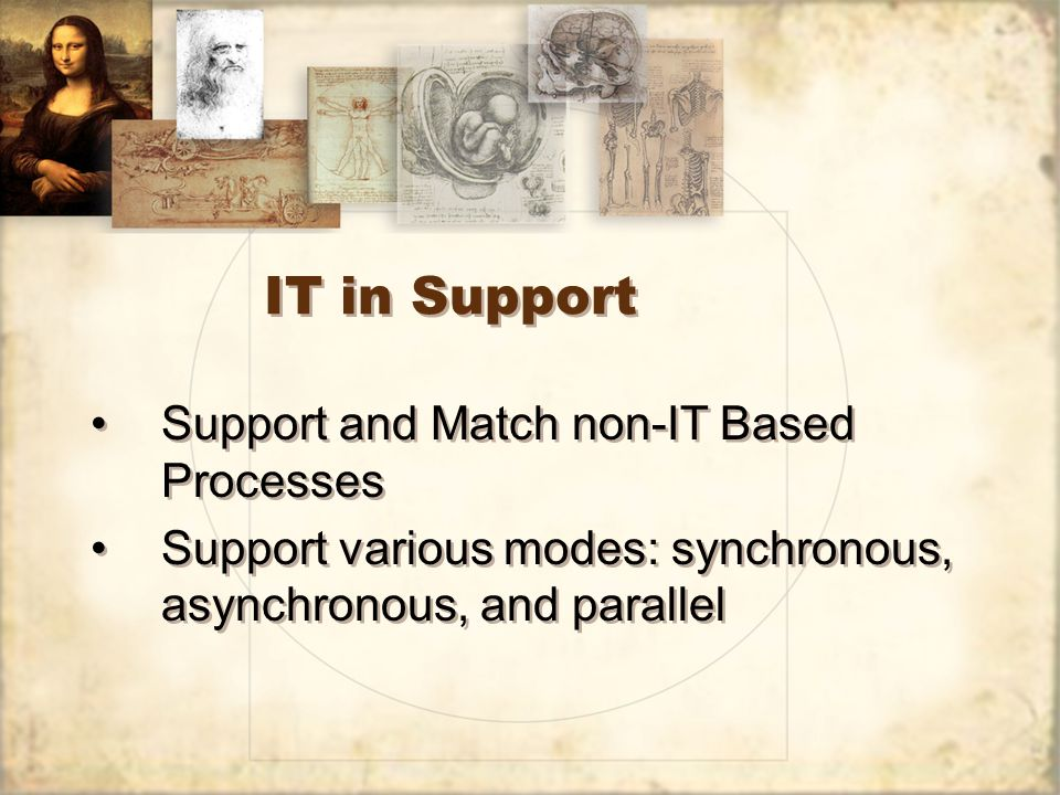 IT in Support Support and Match non-IT Based Processes Support various modes: synchronous, asynchronous, and parallel Support and Match non-IT Based Processes Support various modes: synchronous, asynchronous, and parallel