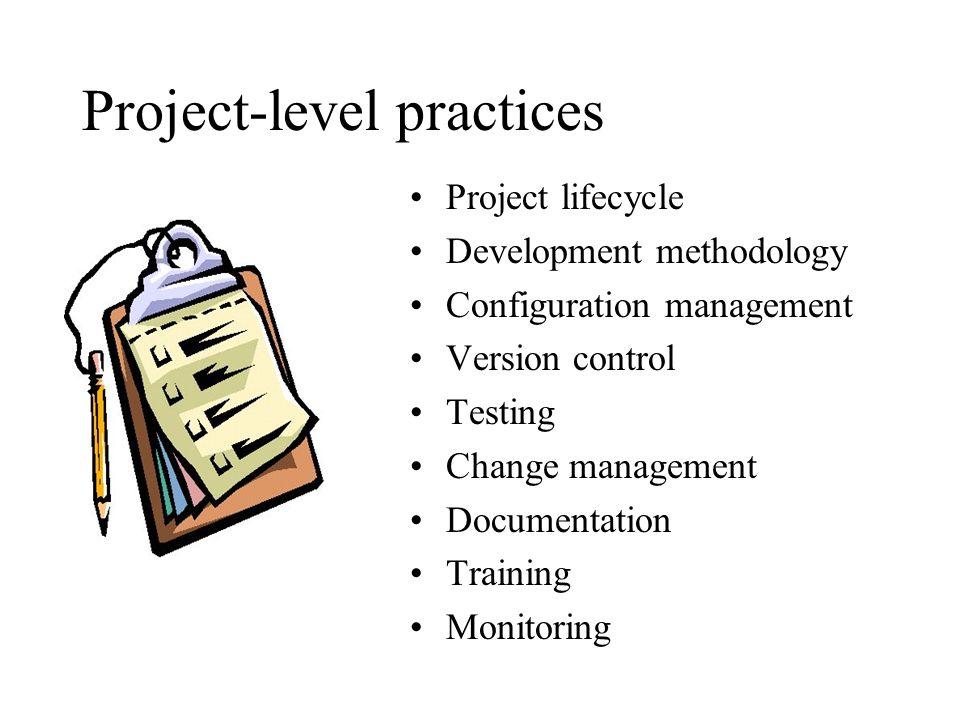 Project-level practices Project lifecycle Development methodology Configuration management Version control Testing Change management Documentation Training Monitoring
