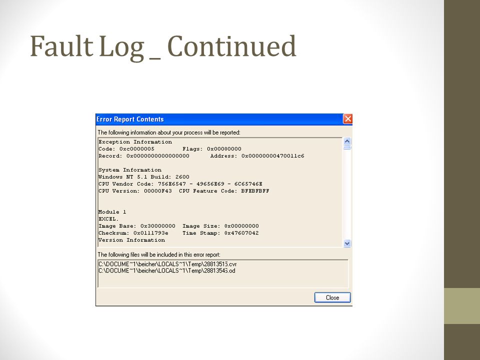 Fault Log _ Continued