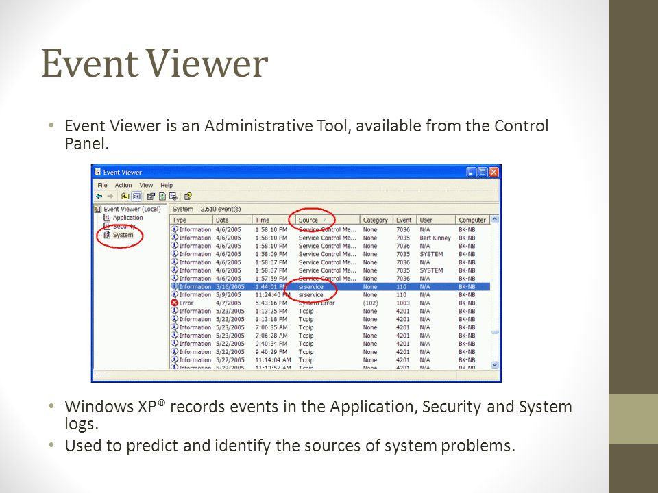 Event Viewer Event Viewer is an Administrative Tool, available from the Control Panel.