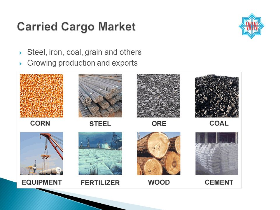 Steel, iron, coal, grain and others Growing production and exports