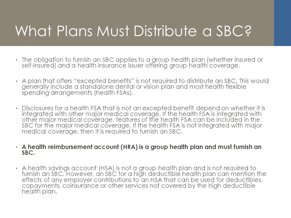 What Plans Must Distribute a SBC.