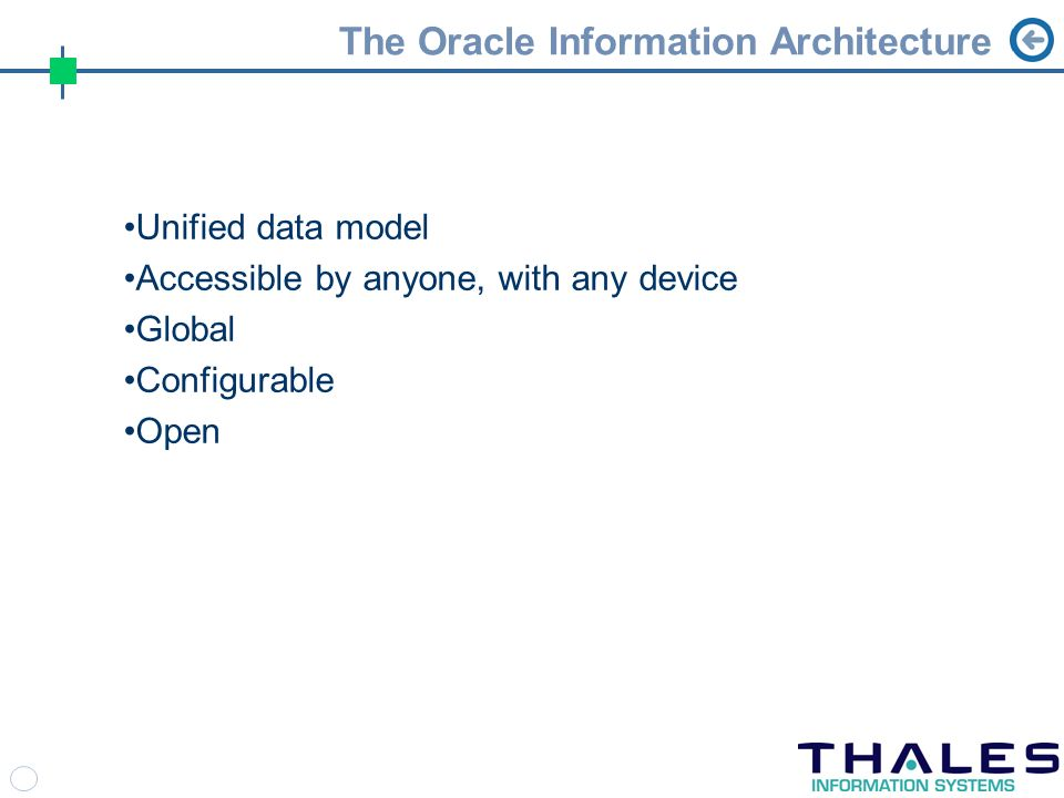 The Oracle Information Architecture Unified data model Accessible by anyone, with any device Global Configurable Open