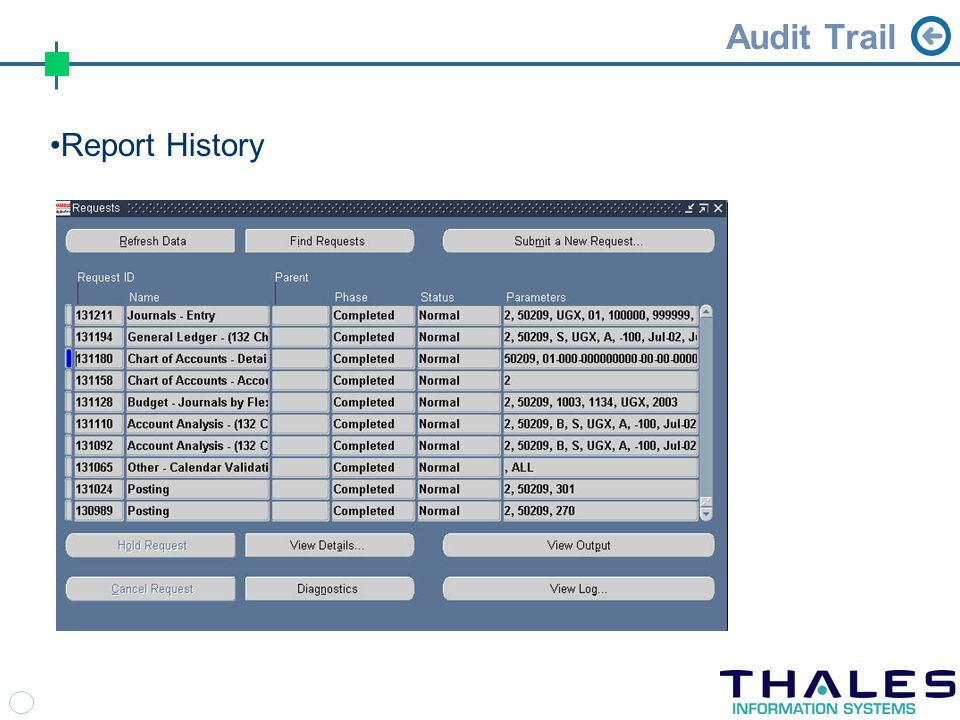 Audit Trail Report History