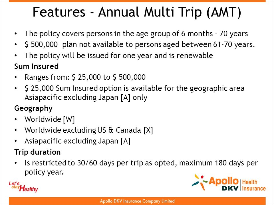 Features - Annual Multi Trip (AMT) The policy covers persons in the age group of 6 months - 70 years $ 500,000 plan not available to persons aged between years.