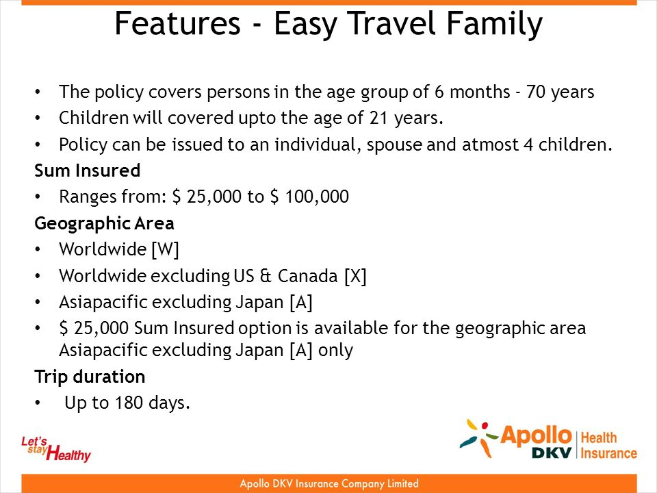 Features - Easy Travel Family The policy covers persons in the age group of 6 months - 70 years Children will covered upto the age of 21 years.
