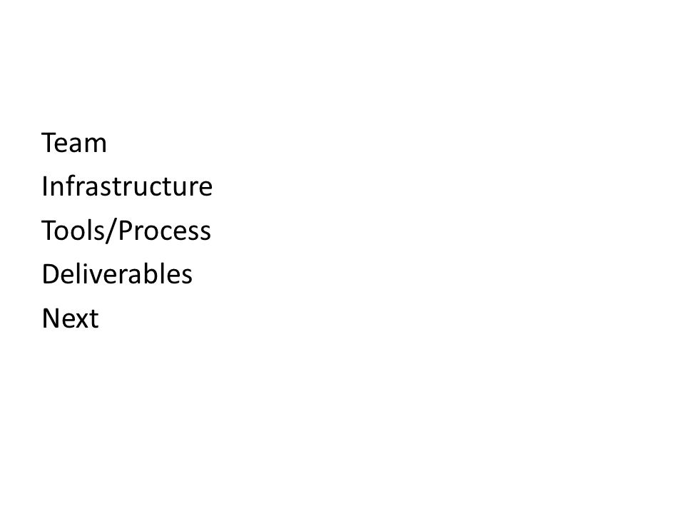 Team Infrastructure Tools/Process Deliverables Next