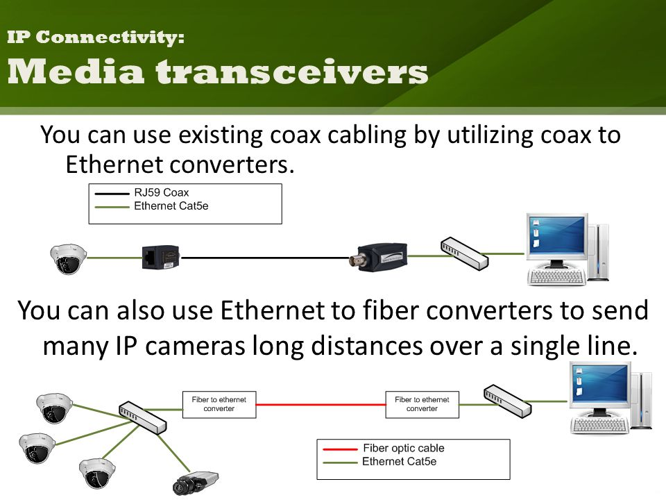 You can use existing coax cabling by utilizing coax to Ethernet converters.