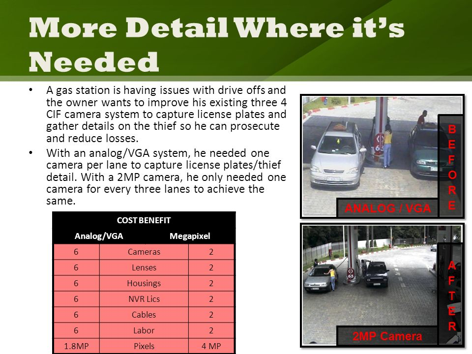 More Detail Where its Needed A gas station is having issues with drive offs and the owner wants to improve his existing three 4 CIF camera system to capture license plates and gather details on the thief so he can prosecute and reduce losses.