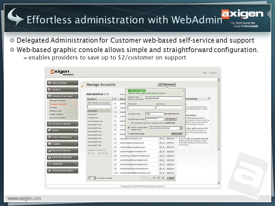 Delegated Administration for Customer web-based self-service and support Web-based graphic console allows simple and straightforward configuration.