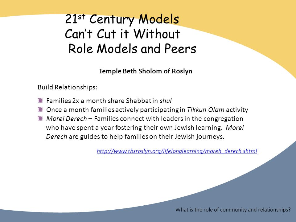21 st Century Models Cant Cut it Without Role Models and Peers Temple Beth Sholom of Roslyn Build Relationships: Families 2x a month share Shabbat in shul Once a month families actively participating in Tikkun Olam activity Morei Derech – Families connect with leaders in the congregation who have spent a year fostering their own Jewish learning.