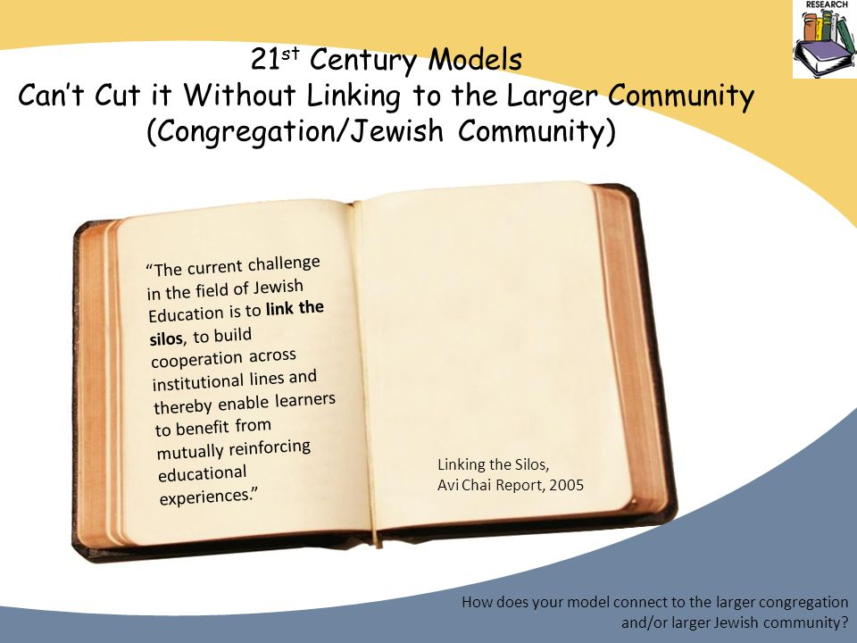 21 st Century Models Cant Cut it Without Linking to the Larger Community (Congregation/Jewish Community) How does your model connect to the larger congregation and/or larger Jewish community.