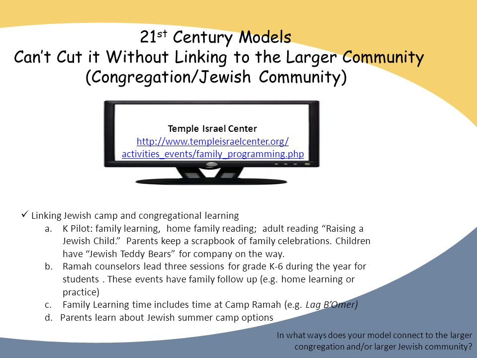 21 st Century Models Cant Cut it Without Linking to the Larger Community (Congregation/Jewish Community) Temple Israel Center http://www.templeisraelcenter.org/ activities_events/family_programming.php In what ways does your model connect to the larger congregation and/or larger Jewish community.