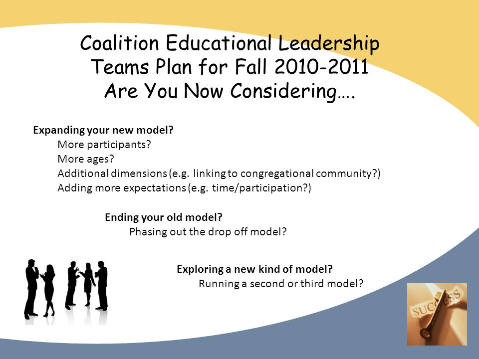 Coalition Educational Leadership Teams Plan for Fall 2010-2011 Are You Now Considering….