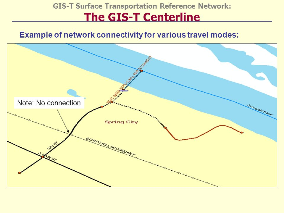 GIS-T Surface Transportation Reference Network: The GIS-T Centerline Example of network connectivity for various travel modes: Note: No connection