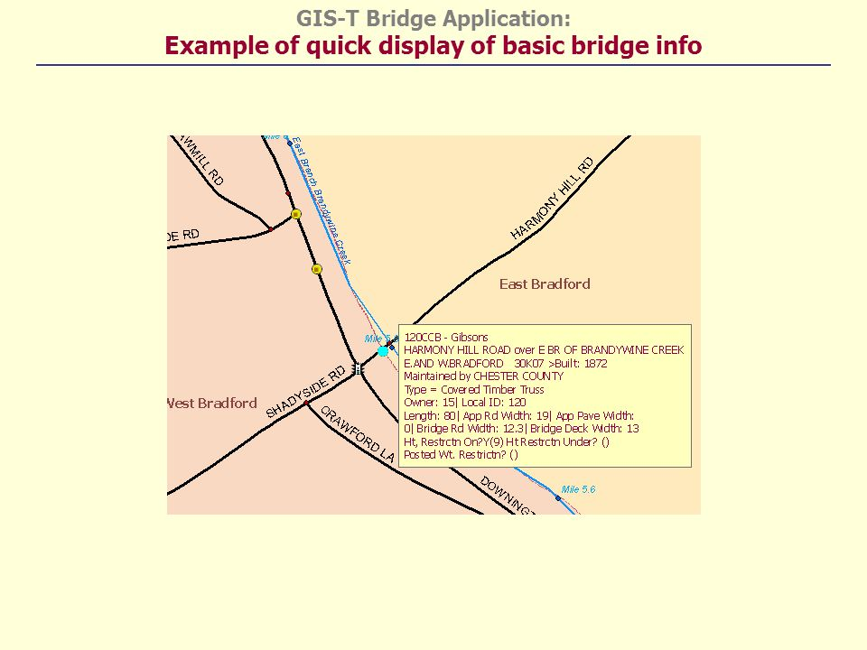GIS-T Bridge Application: Example of quick display of basic bridge info