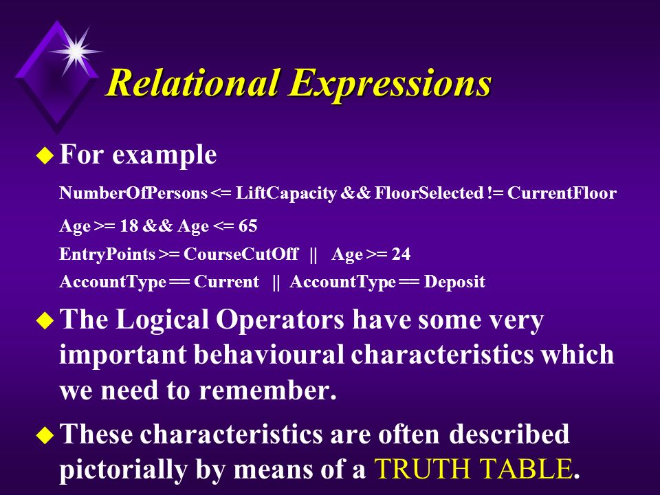 Relational Expressions u For example NumberOfPersons <= LiftCapacity && FloorSelected != CurrentFloor Age >= 18 && Age <= 65 EntryPoints >= CourseCutOff || Age >= 24 AccountType == Current || AccountType == Deposit u The Logical Operators have some very important behavioural characteristics which we need to remember.