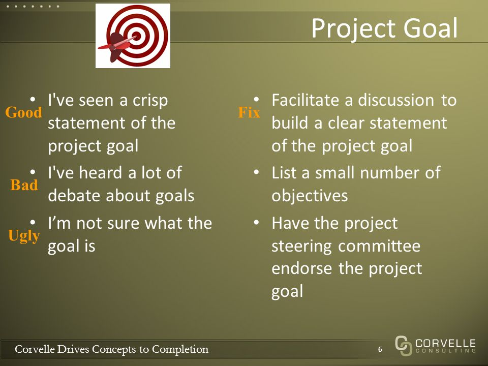 Corvelle Drives Concepts to Completion Project Goal I ve seen a crisp statement of the project goal I ve heard a lot of debate about goals Im not sure what the goal is Facilitate a discussion to build a clear statement of the project goal List a small number of objectives Have the project steering committee endorse the project goal 6 Good Bad Ugly Fix