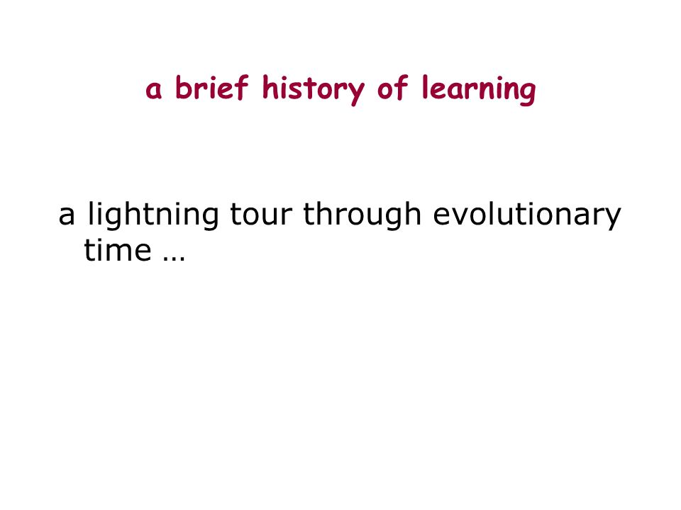 a brief history of learning a lightning tour through evolutionary time …