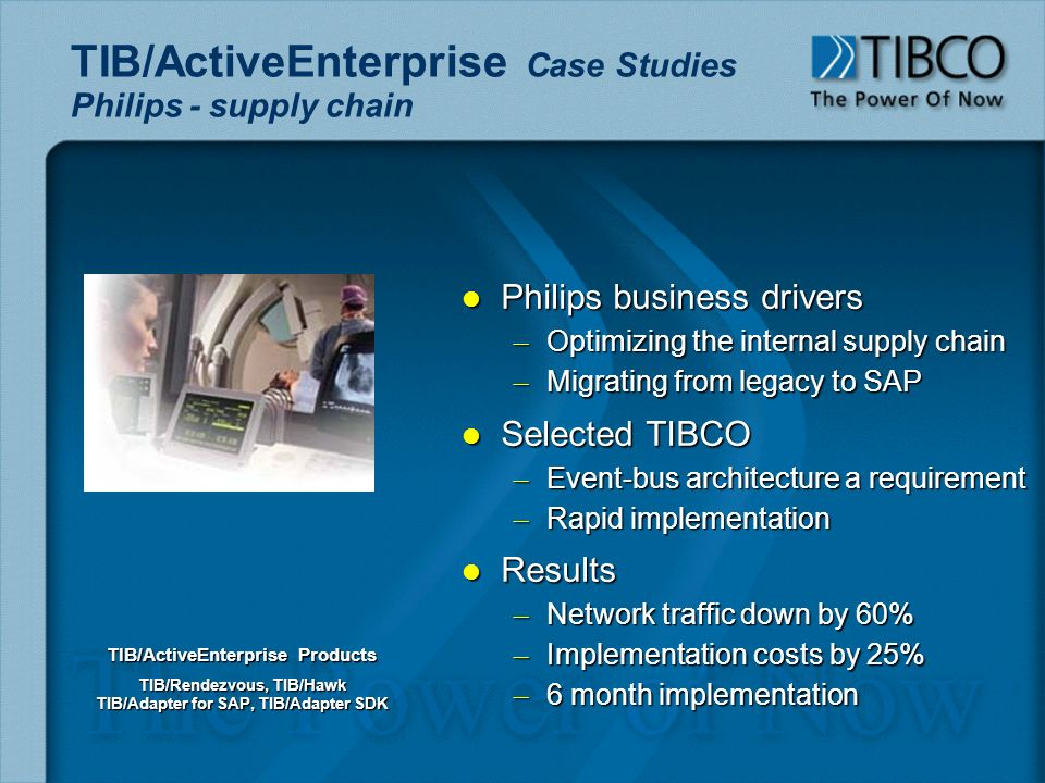 l Philips business drivers – Optimizing the internal supply chain – Migrating from legacy to SAP l Selected TIBCO – Event-bus architecture a requirement – Rapid implementation l Results – Network traffic down by 60% – Implementation costs by 25% – 6 month implementation TIB/ActiveEnterprise Case Studies Philips - supply chain TIB/ActiveEnterprise Products TIB/Rendezvous, TIB/Hawk TIB/Adapter for SAP, TIB/Adapter SDK