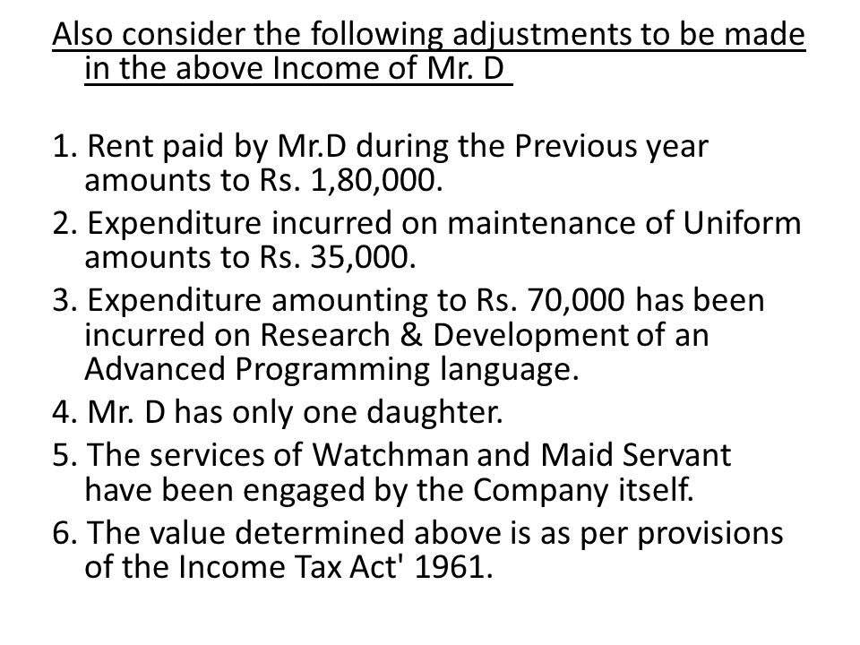 Also consider the following adjustments to be made in the above Income of Mr.