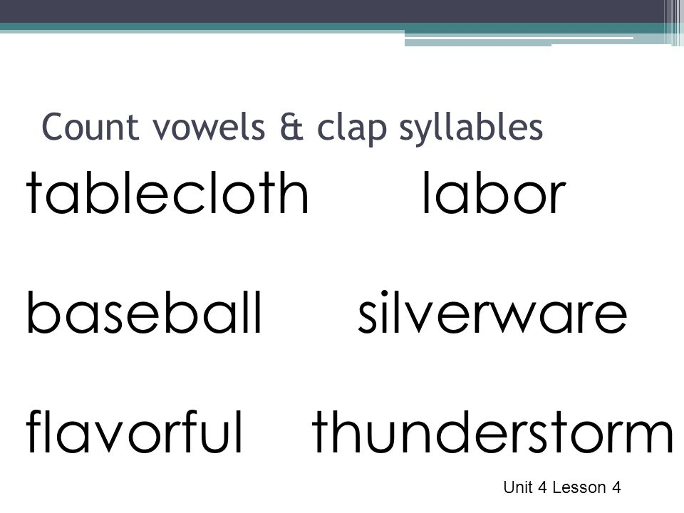 Count vowels & clap syllables tablecloth baseball flavorful Unit 4 Lesson 4 labor silverware thunderstorm