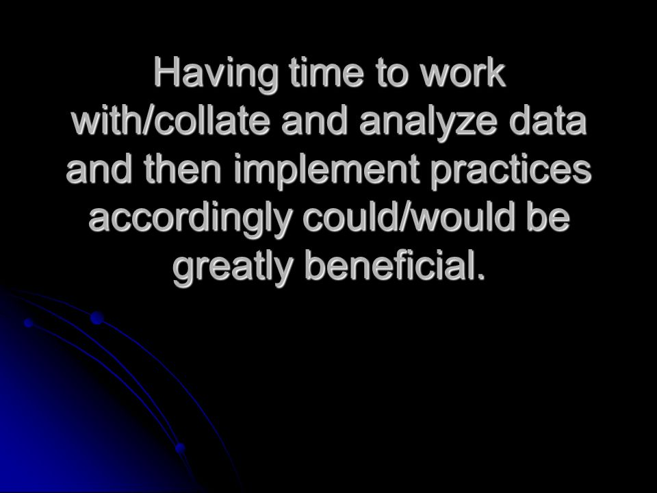 Having time to work with/collate and analyze data and then implement practices accordingly could/would be greatly beneficial.