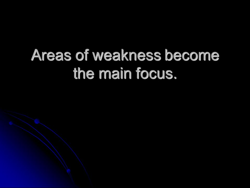 Areas of weakness become the main focus.