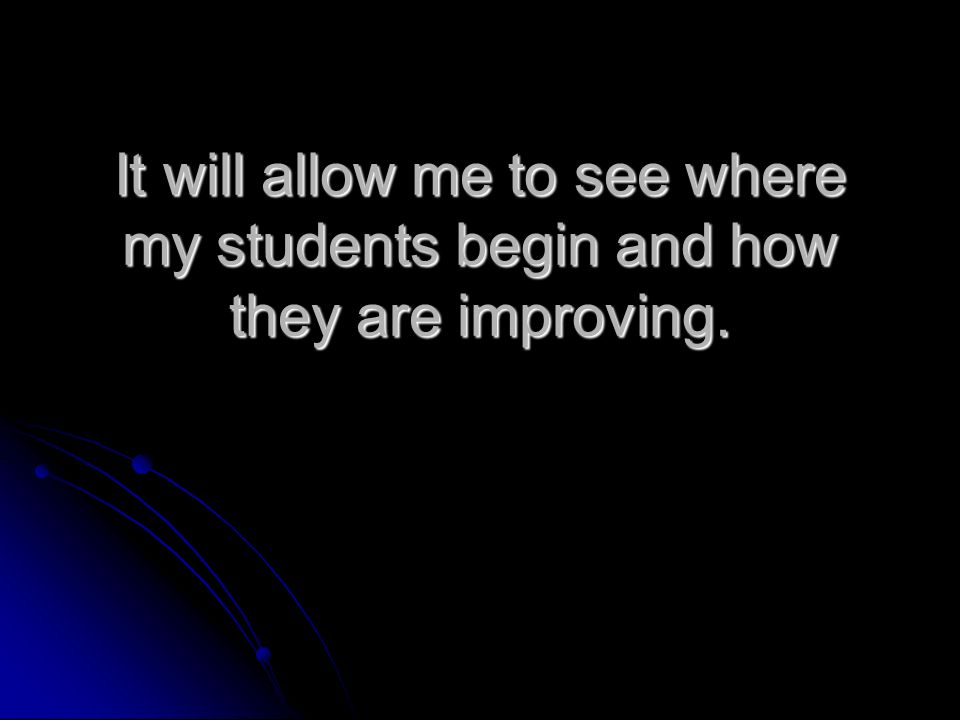 It will allow me to see where my students begin and how they are improving.