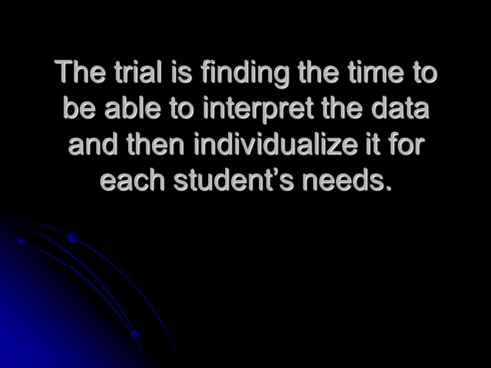 The trial is finding the time to be able to interpret the data and then individualize it for each students needs.