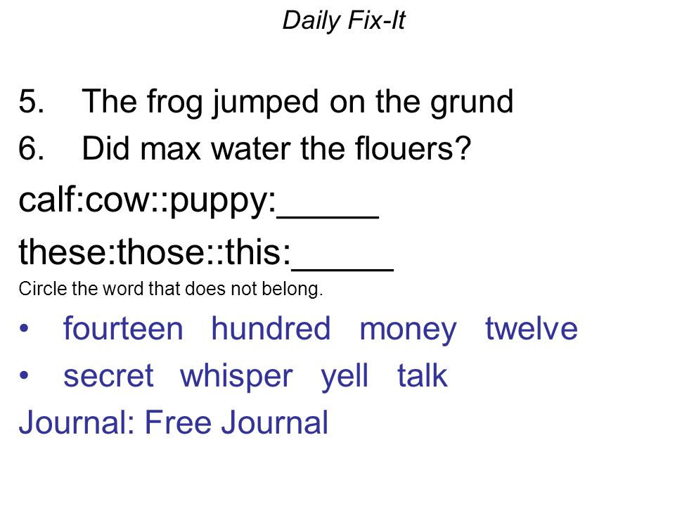 Daily Fix-It 5. The frog jumped on the grund 6. Did max water the flouers.