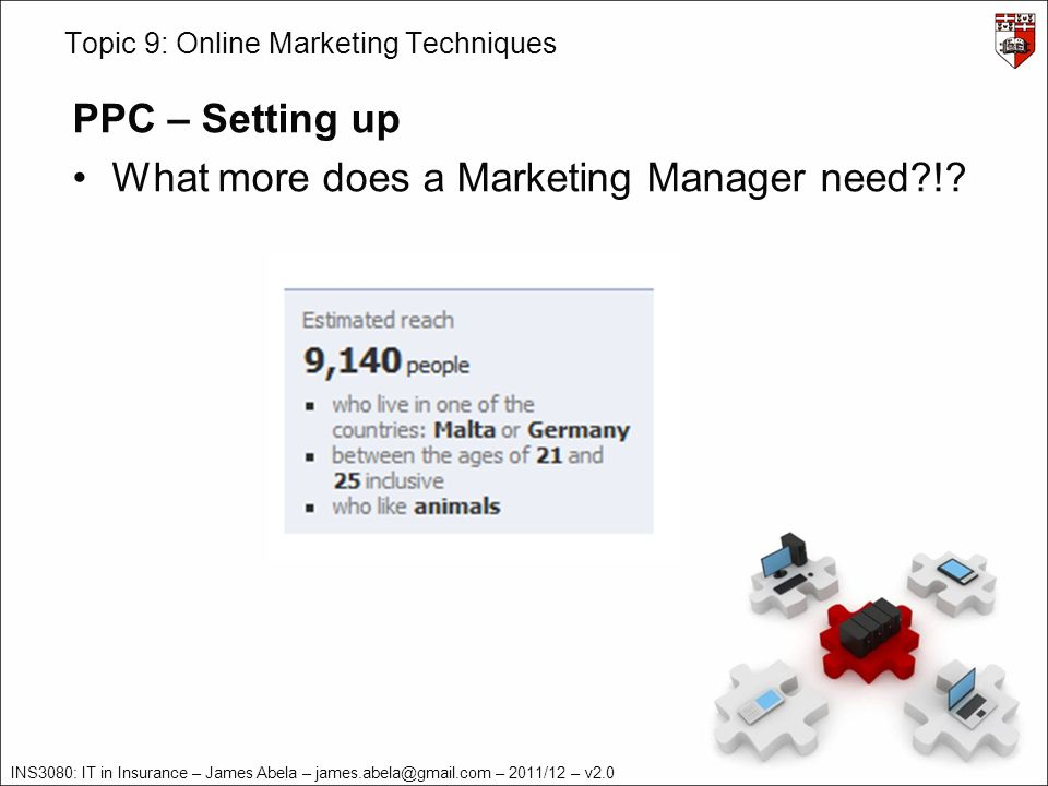 INS3080: IT in Insurance – James Abela – – 2011/12 – v2.0 Topic 9: Online Marketing Techniques PPC – Setting up What more does a Marketing Manager need !