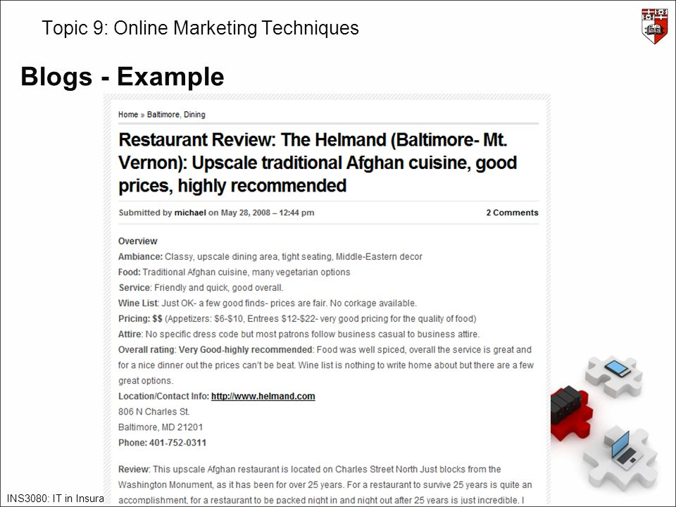 INS3080: IT in Insurance – James Abela – – 2011/12 – v2.0 Topic 9: Online Marketing Techniques Blogs - Example