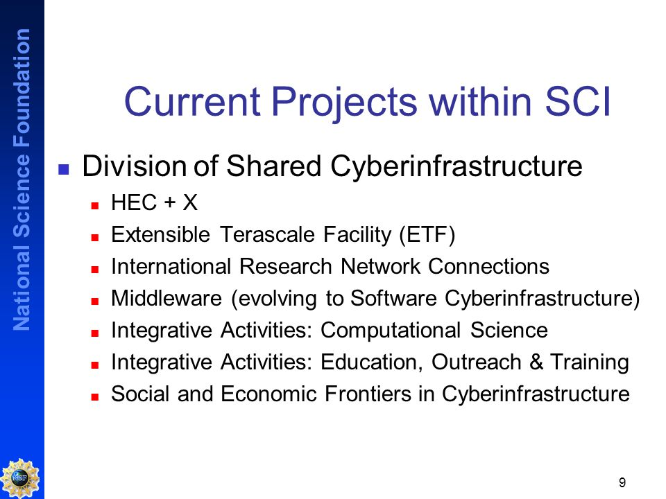 National Science Foundation 9 Current Projects within SCI Division of Shared Cyberinfrastructure HEC + X Extensible Terascale Facility (ETF) International Research Network Connections Middleware (evolving to Software Cyberinfrastructure) Integrative Activities: Computational Science Integrative Activities: Education, Outreach & Training Social and Economic Frontiers in Cyberinfrastructure