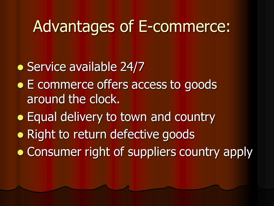 E- commerce Is term which relates to buying or selling goods and services via the internet Is term which relates to buying or selling goods and services via the internet