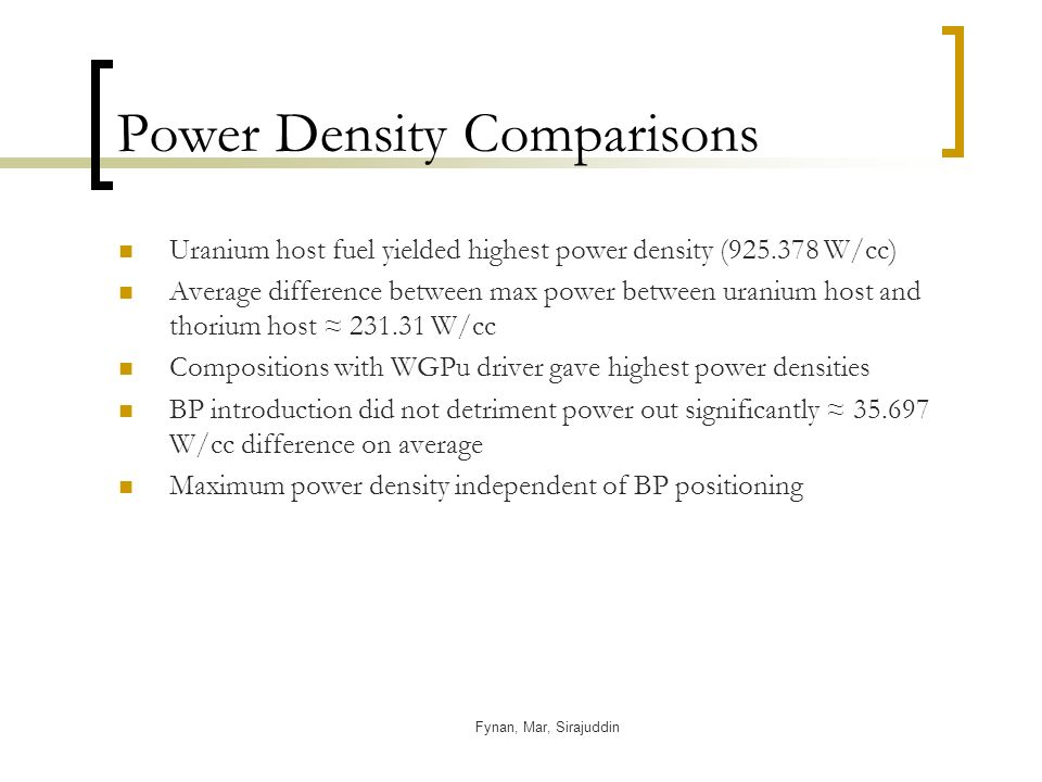 Fynan, Mar, Sirajuddin Power Density Comparisons Uranium host fuel yielded highest power density ( W/cc) Average difference between max power between uranium host and thorium host W/cc Compositions with WGPu driver gave highest power densities BP introduction did not detriment power out significantly W/cc difference on average Maximum power density independent of BP positioning