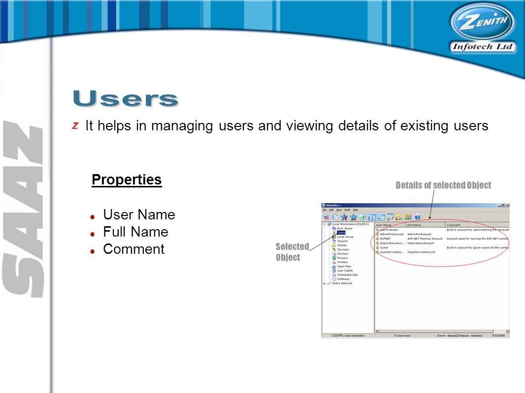 It helps in managing users and viewing details of existing users Properties User Name Full Name Comment