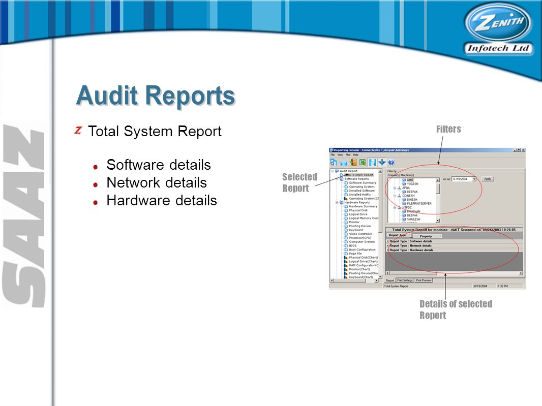 Software details Network details Hardware details Total System Report