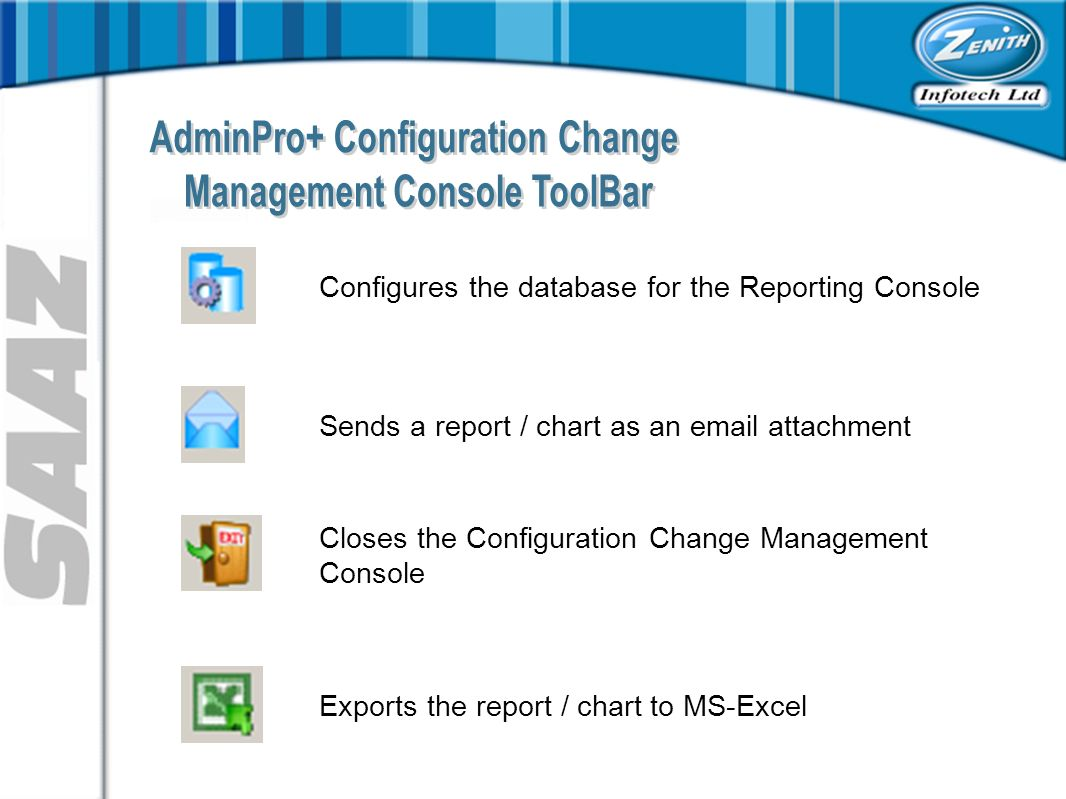Configures the database for the Reporting Console Sends a report / chart as an  attachment Closes the Configuration Change Management Console Exports the report / chart to MS-Excel