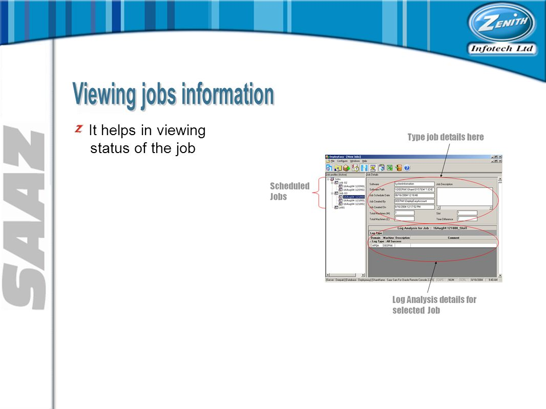 It helps in viewing status of the job