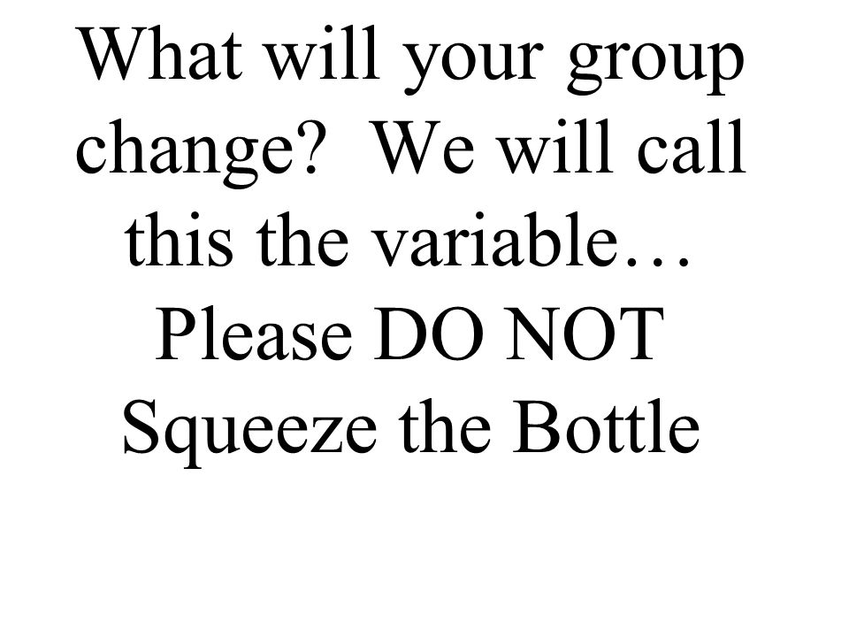 What will your group change We will call this the variable… Please DO NOT Squeeze the Bottle