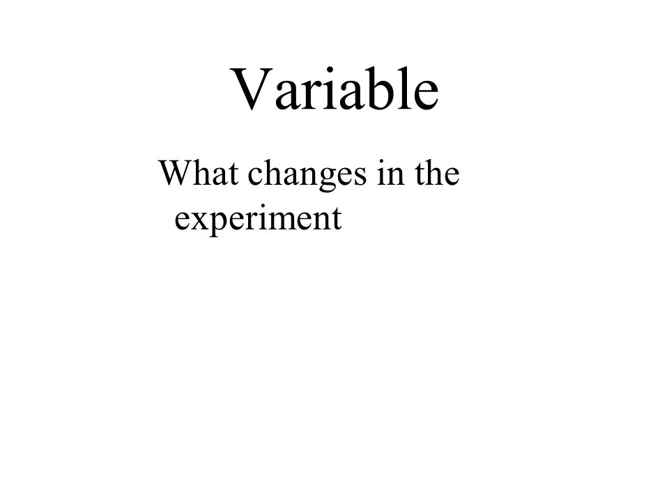 Variable What changes in the experiment