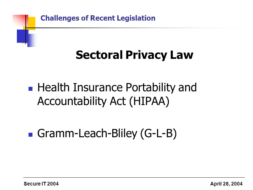 Secure IT 2004 April 28, 2004 Challenges of Recent Legislation Sectoral Privacy Law Health Insurance Portability and Accountability Act (HIPAA) Gramm-Leach-Bliley (G-L-B)