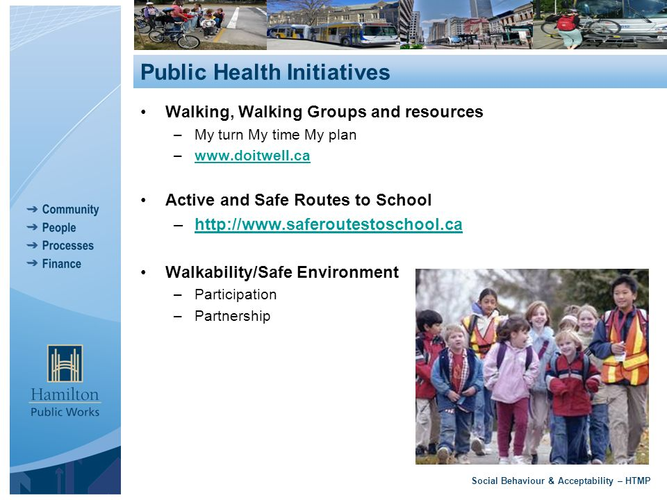 Walking, Walking Groups and resources –My turn My time My plan –  Active and Safe Routes to School –  Walkability/Safe Environment –Participation –Partnership Social Behaviour & Acceptability – HTMP Public Health Initiatives