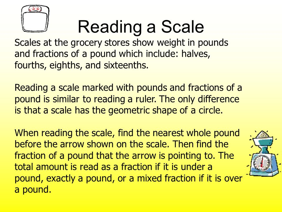 Reading a Scale Scales at the grocery stores show weight in pounds and fractions of a pound which include: halves, fourths, eighths, and sixteenths.