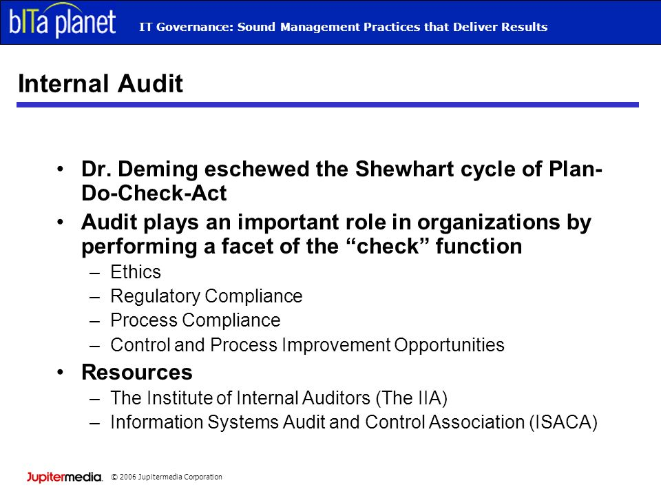 © 2006 Jupitermedia Corporation IT Governance: Sound Management Practices that Deliver Results Internal Audit Dr.