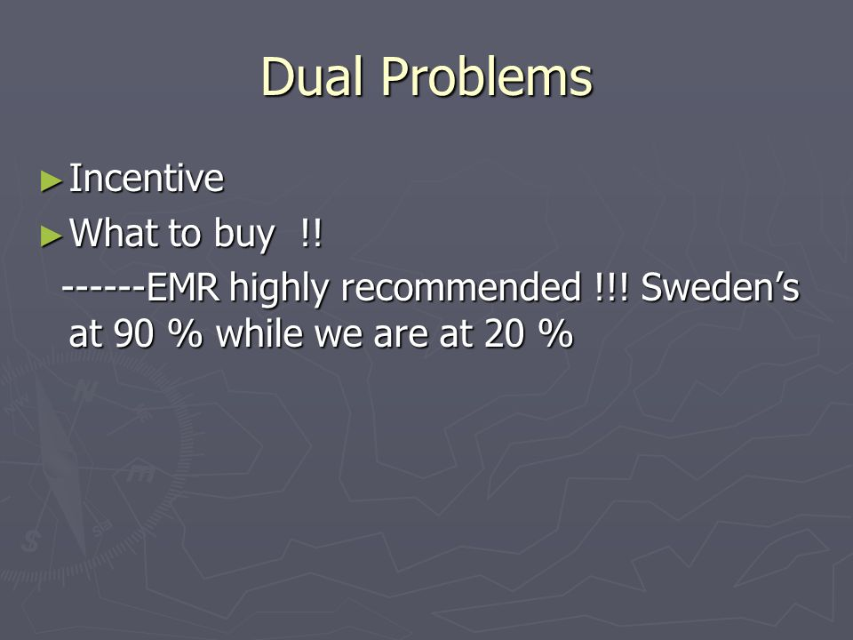 Dual Problems Incentive Incentive What to buy !. What to buy !.