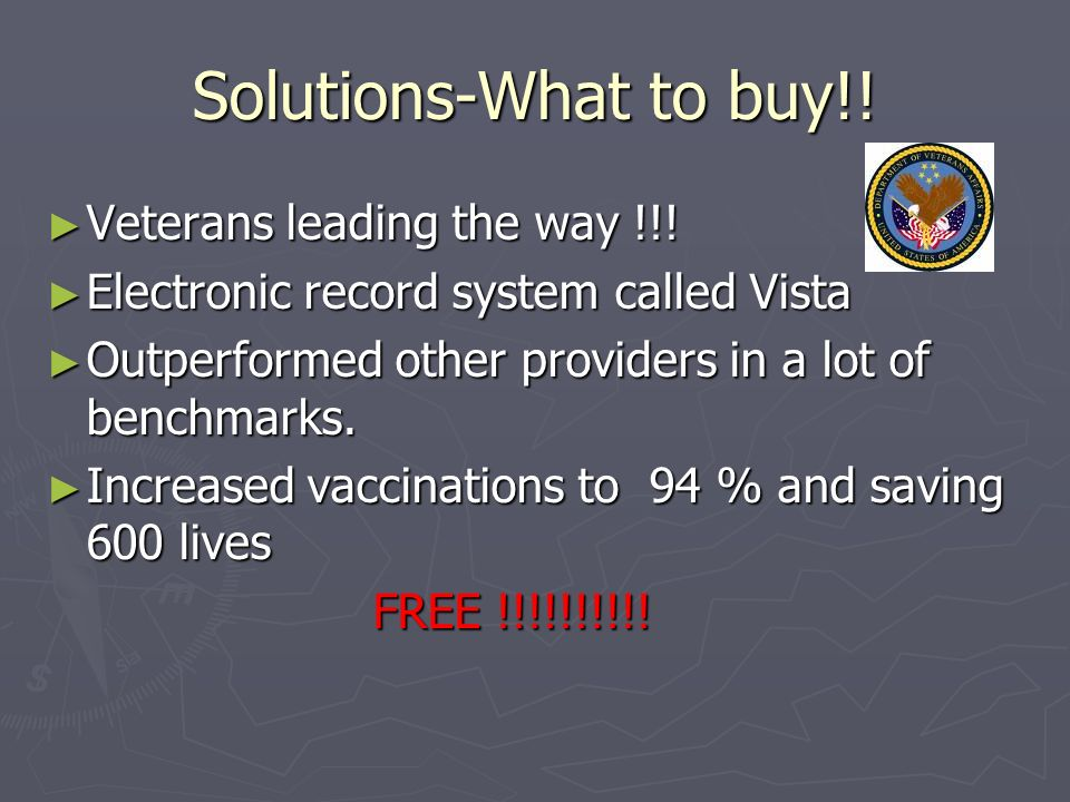 Solutions-What to buy!. Veterans leading the way !!.