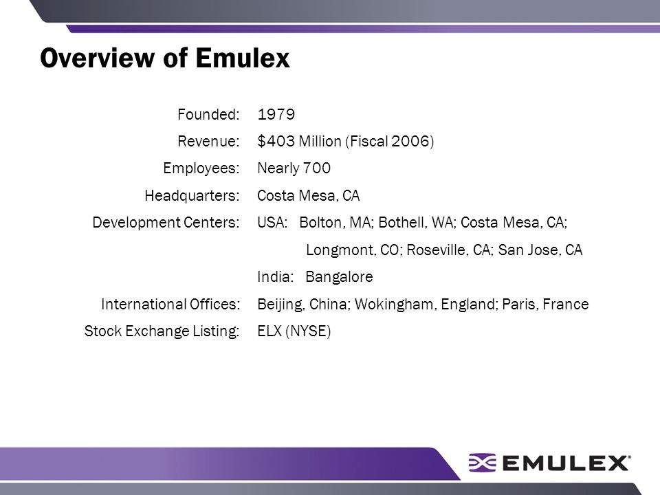 Overview of Emulex Founded:1979 Revenue:$403 Million (Fiscal 2006) Employees:Nearly 700 Headquarters:Costa Mesa, CA Development Centers:USA: Bolton, MA; Bothell, WA; Costa Mesa, CA; Longmont, CO; Roseville, CA; San Jose, CA India: Bangalore International Offices:Beijing, China; Wokingham, England; Paris, France Stock Exchange Listing:ELX (NYSE)