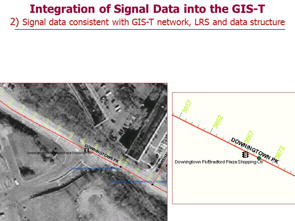 Integration of Signal Data into the GIS-T 2) Signal data consistent with GIS-T network, LRS and data structure